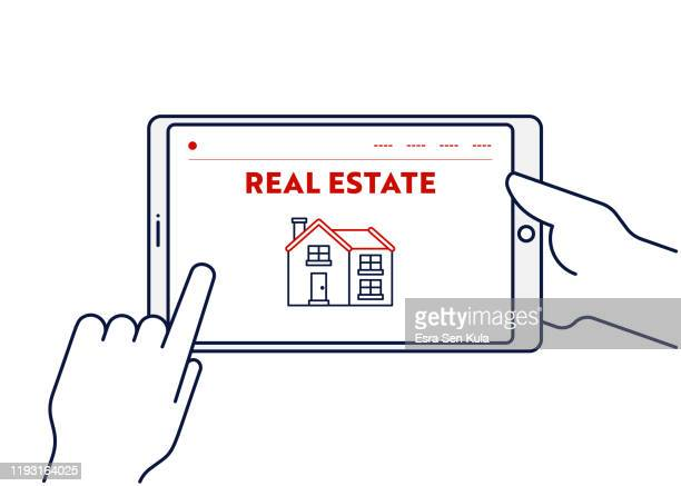 vector line illustration concept for real estate. editable stroke and pixel perfect. - commercial real estate stock illustrations