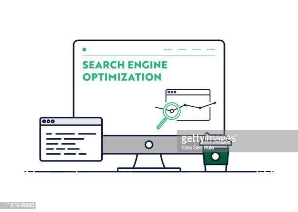 検索エンジン最適化のためのベクトル線図概念。編集可能なストロークとピクセルパーフェクト。 - ワールド・ワイド・ウェブ点のイラスト素材/クリップアート素材/マンガ素材/アイコン素材