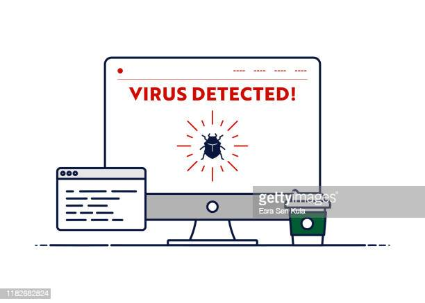 vector line illustration concept for virus detected. editable stroke and pixel perfect. - computer bug stock illustrations
