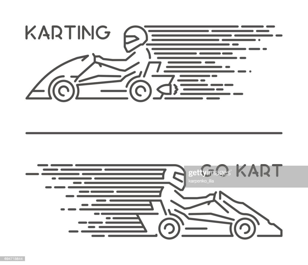 Vector line karting symbol and icon