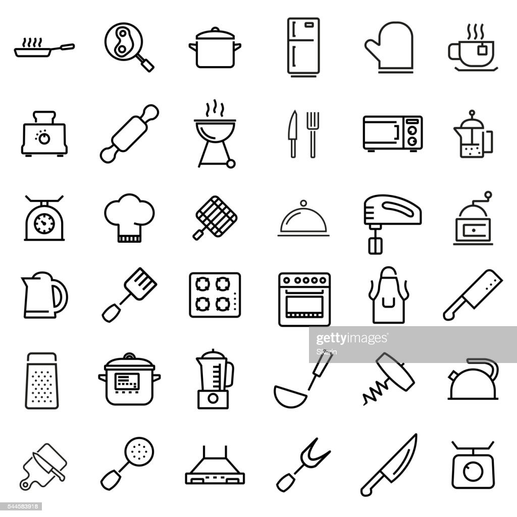 Vector line kitchen and cooking icons set