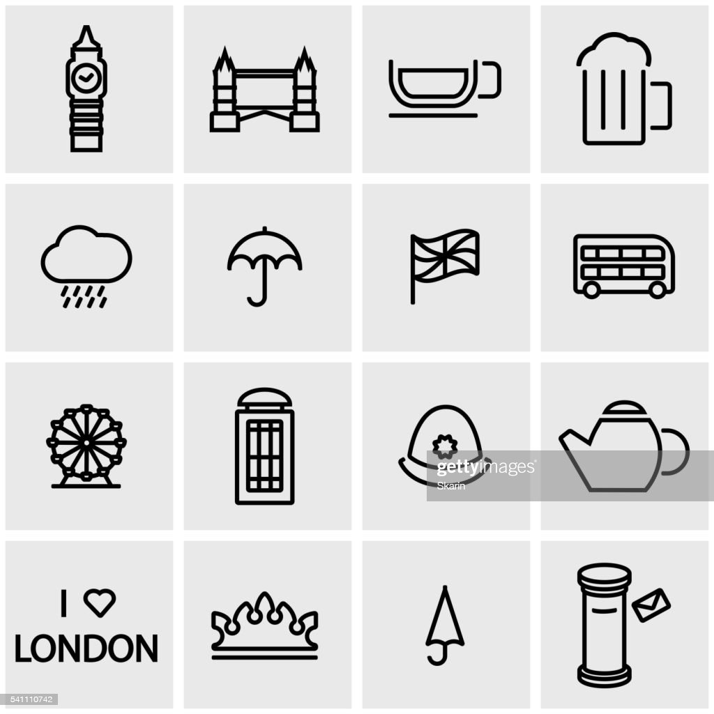 Vector line london icon set