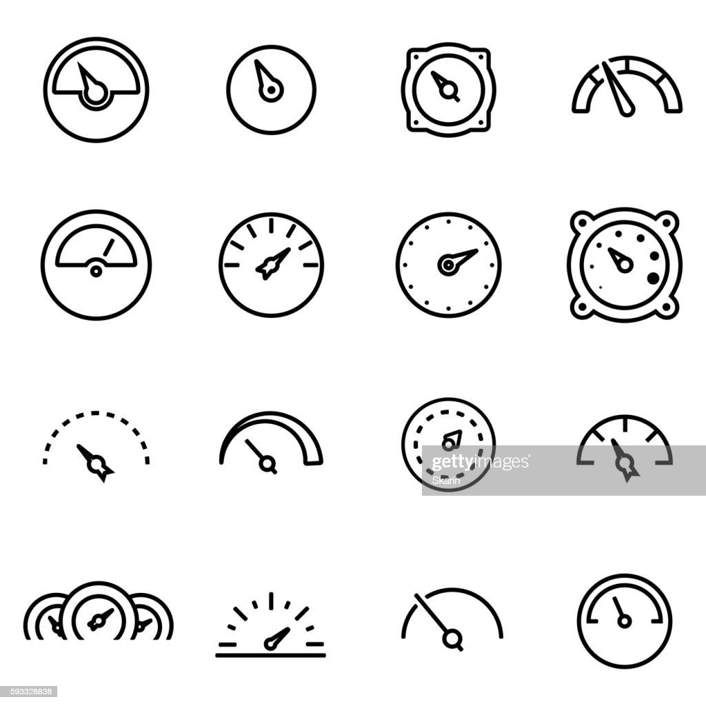 Vector line meter icon set