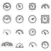 Vector line meter icon set