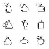 Vector line perfume icon set