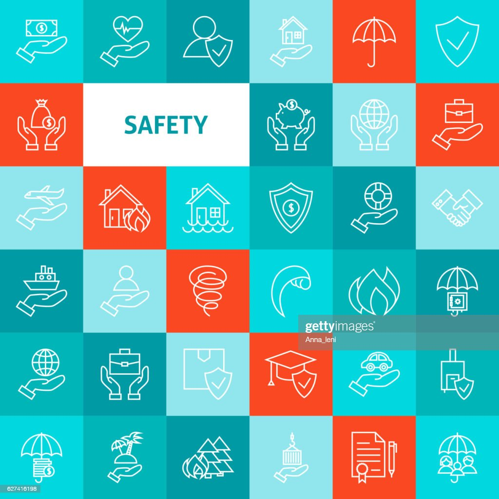 Vector Line Safety Icons Set