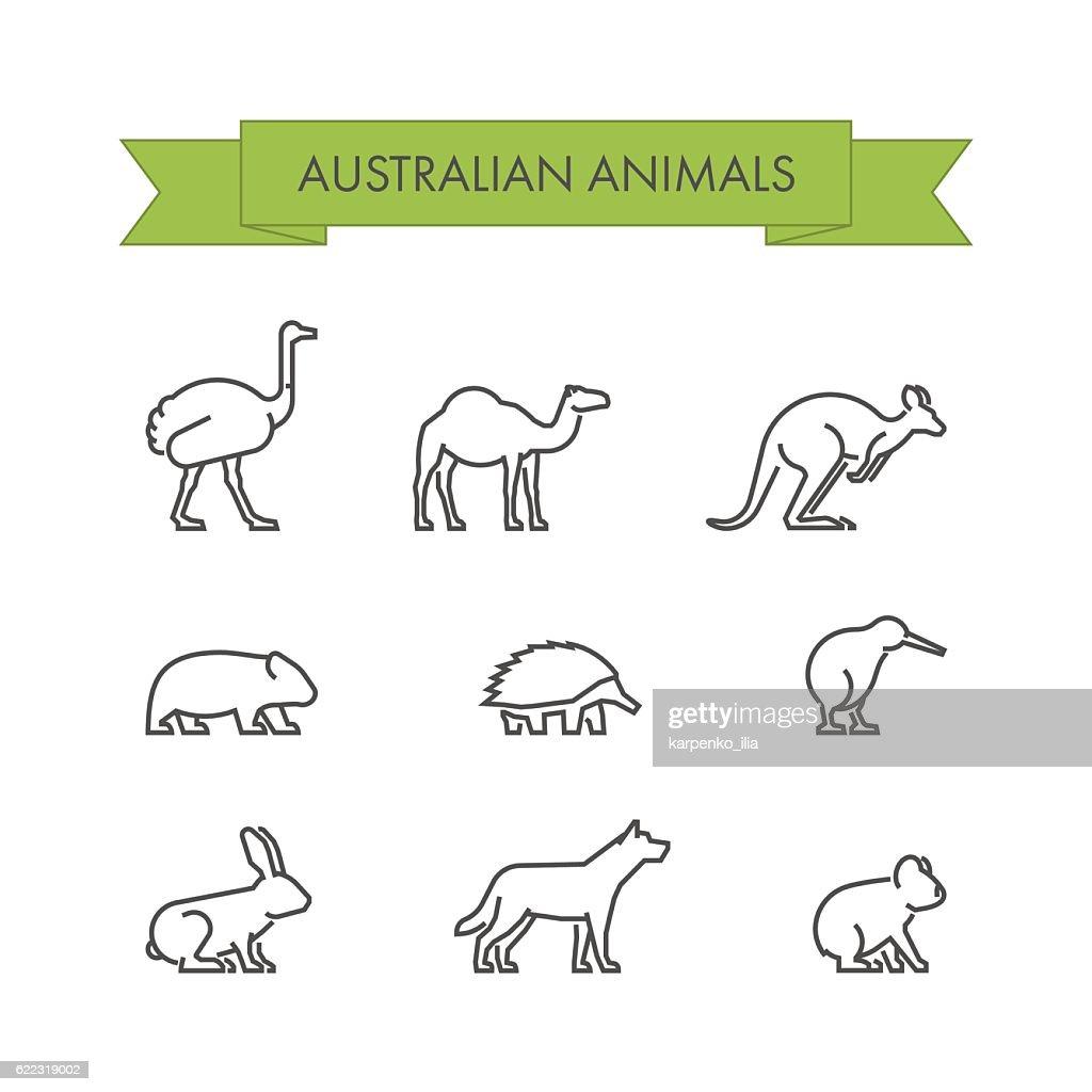 Vector line set of australian animals