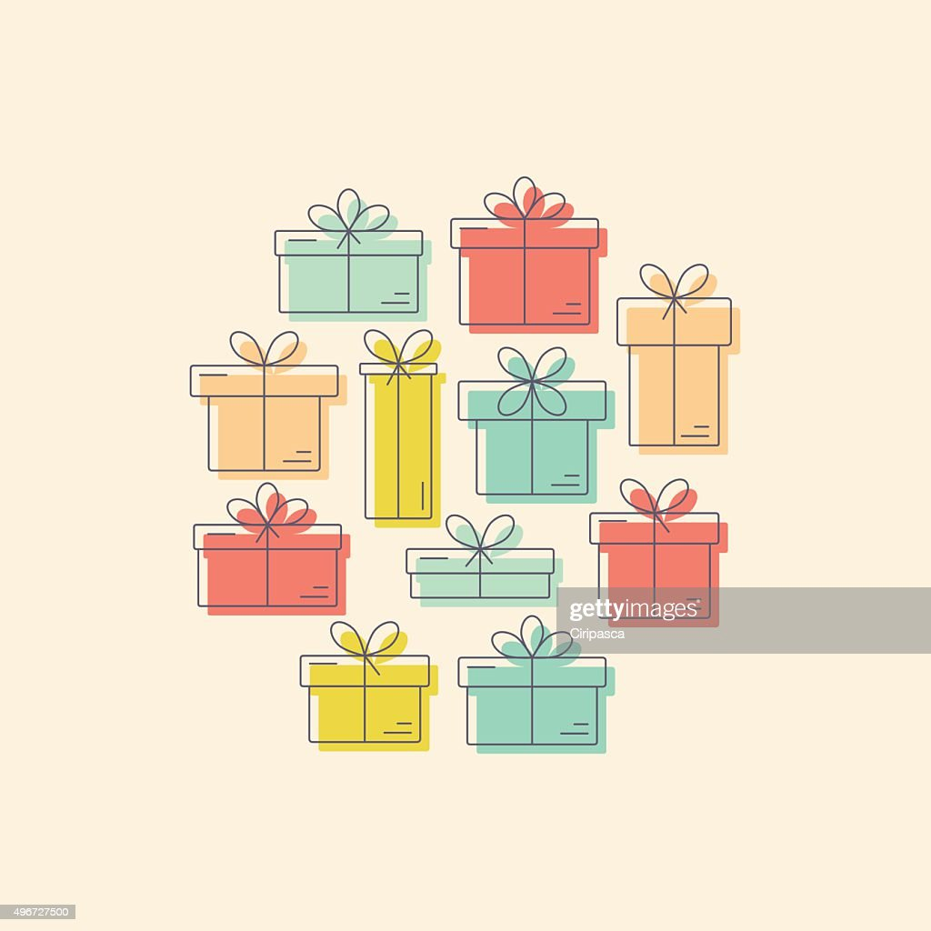 Vector line style illustration with gift boxes.