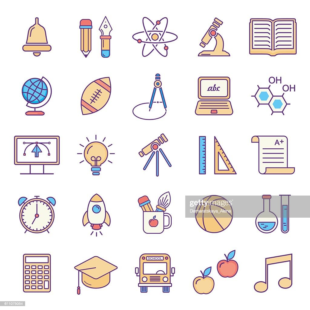 Vector line style school and educations colored icons