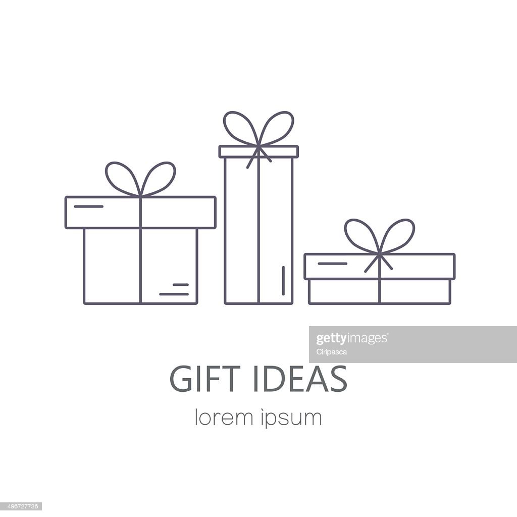 Vector line style template with gift boxes.
