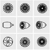 Vector line turbines icon set