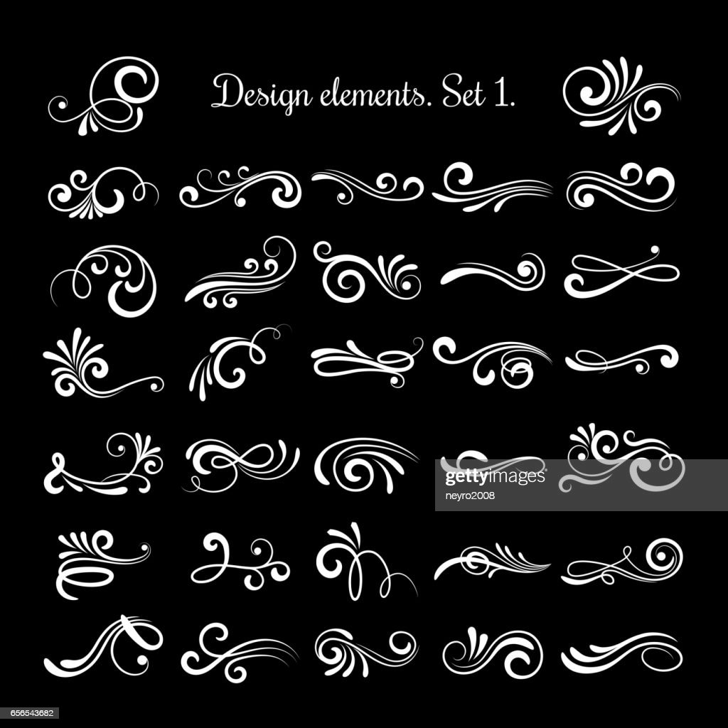 Vector line vintage scroll items for ornate design. Flourish retro lined divider