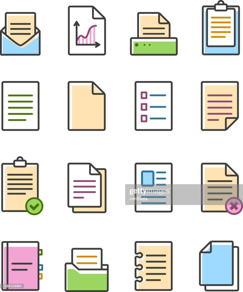 Vector linear document icons set isolated on white, paper symbols