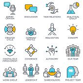 Vector linear icons related to business management and strategy