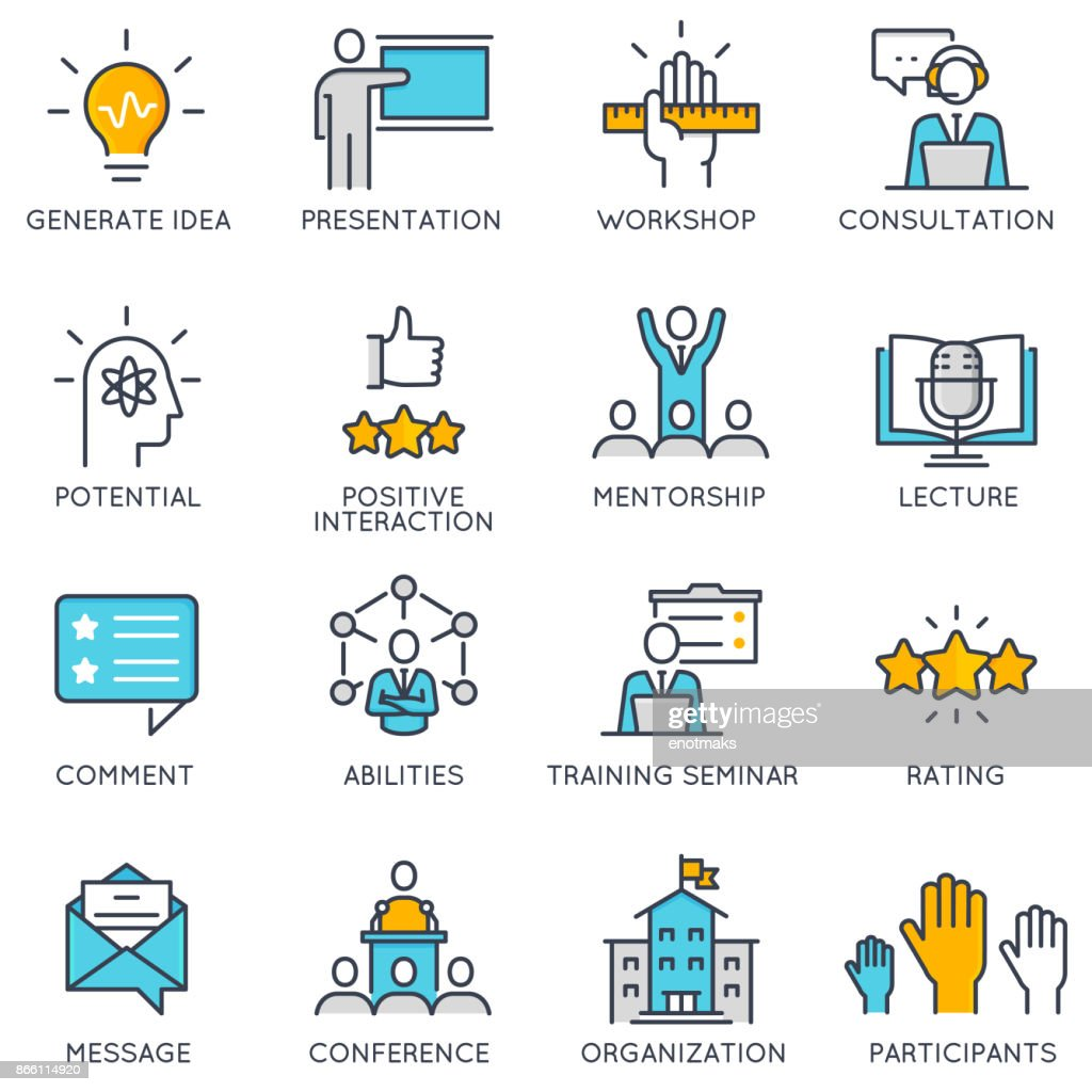 Vector linear icons related to corporate management, business people training