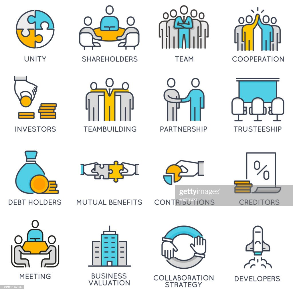 Vector linear icons related to teamwork and human resource management