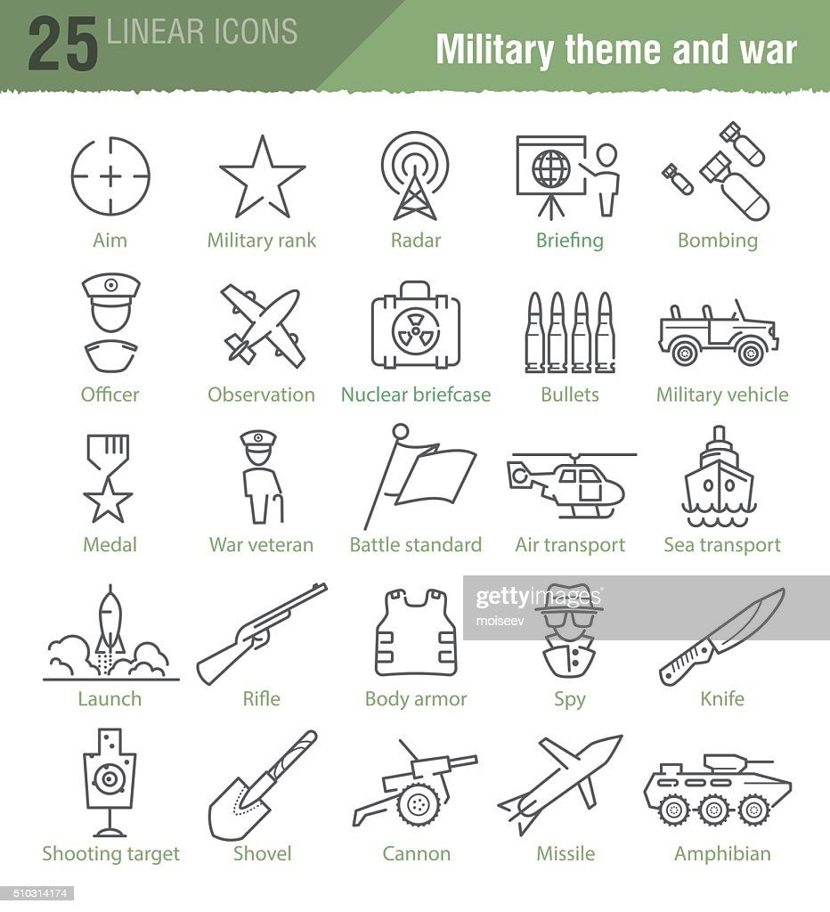 Vector linear icons set for military infographics