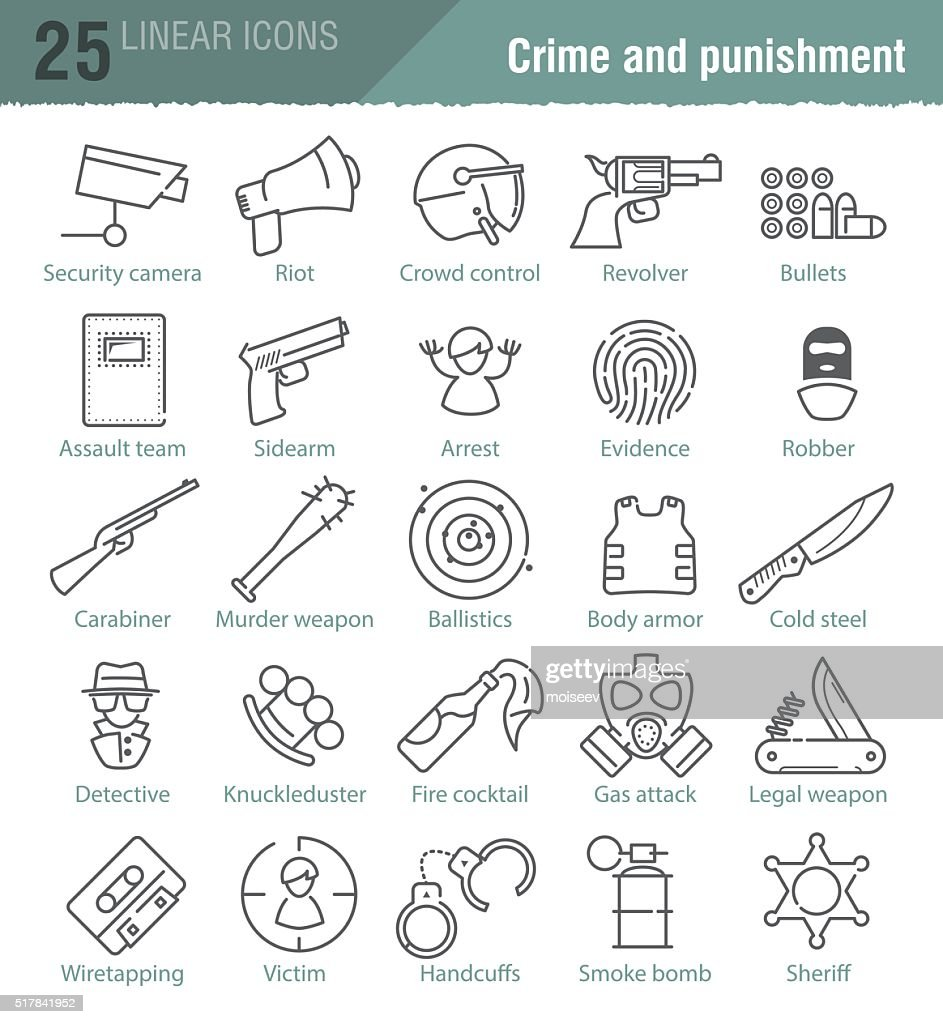 Vector linear icons set for police infographic