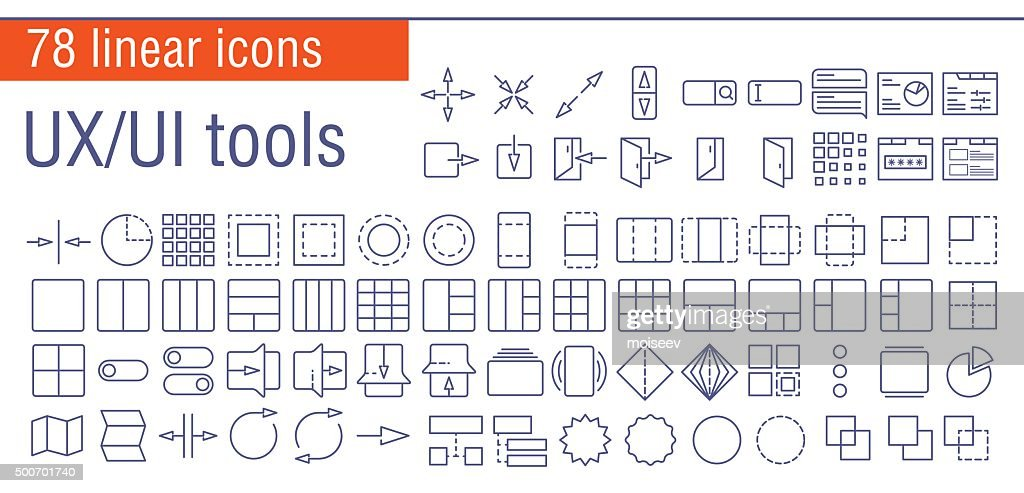 Vector linear icons set of UI/UI tools