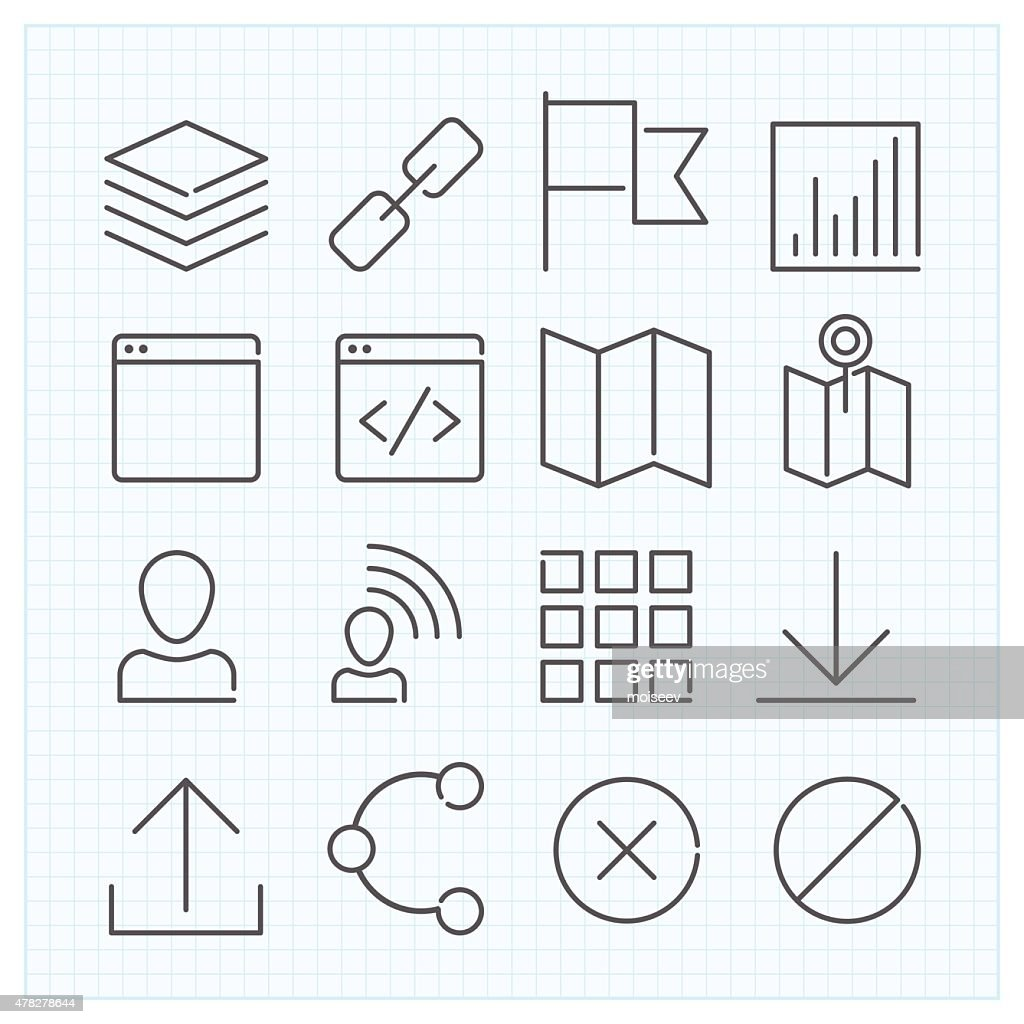 Vector linear icons set