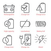 Vector linear icons set with battery and eco-energy theme