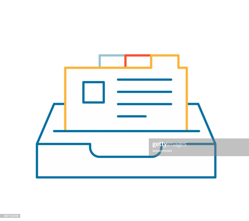 Vector linear illustration of color card file on white