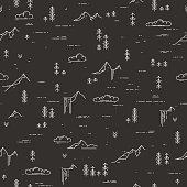 Vector linear seamless pattern with wild landscape elements on blackboard