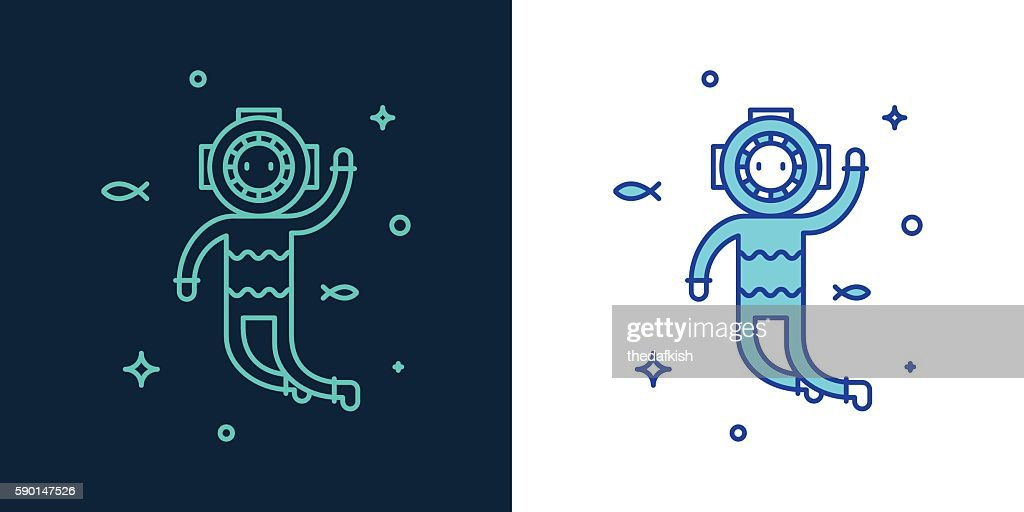 Vector linear style icon of a diver