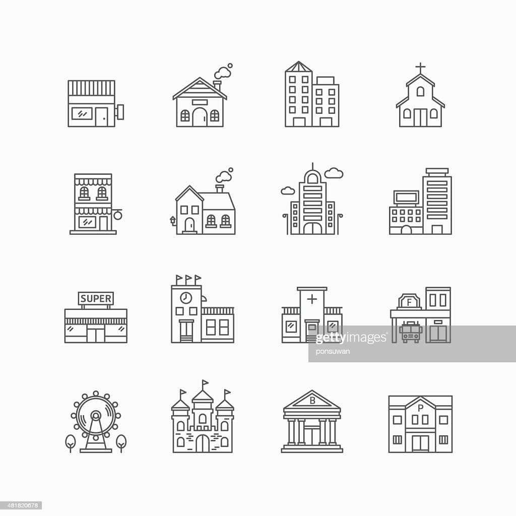 vector linear web icons set - buildings collection flat line