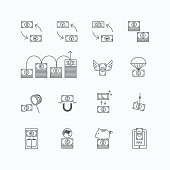 vector linear web icons set - business money currency bill