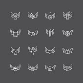 vector linear web icons set - wing concept collection