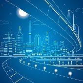Vector lines bridge and trasport overpass, energy city