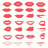 vector lips and mouth,  silhouette