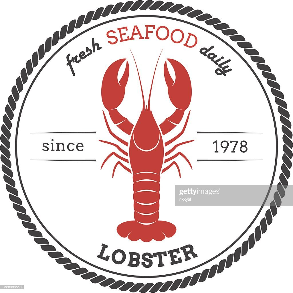 Vector lobster silhouette. Lobster label.