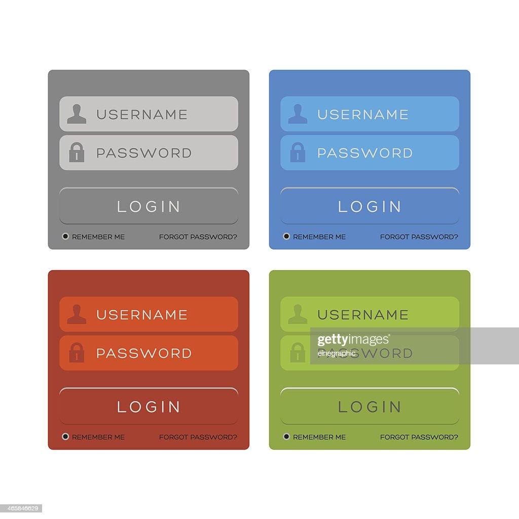 Vector login interface - password, security