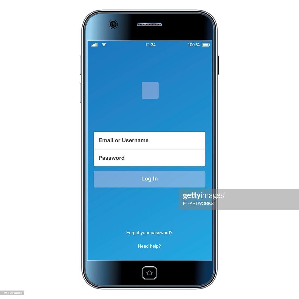 Vector login smartphone interface
