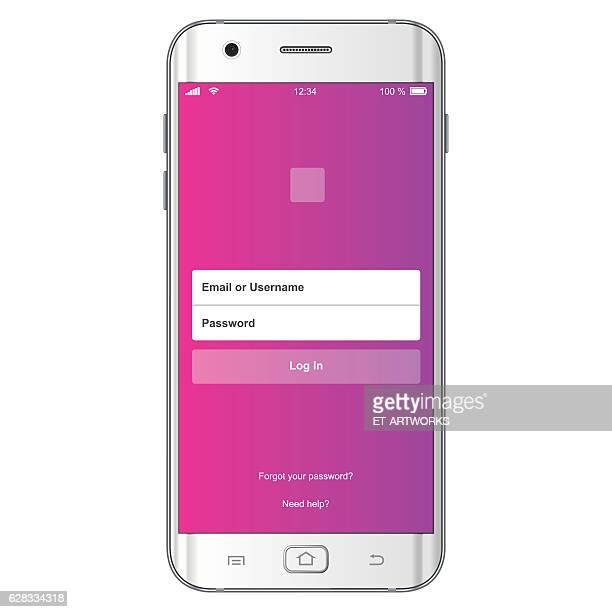 ベクトルログインスマートフォンインタフェース - ログオン点のイラスト素材/クリップアート素材/マンガ素材/アイコン素材