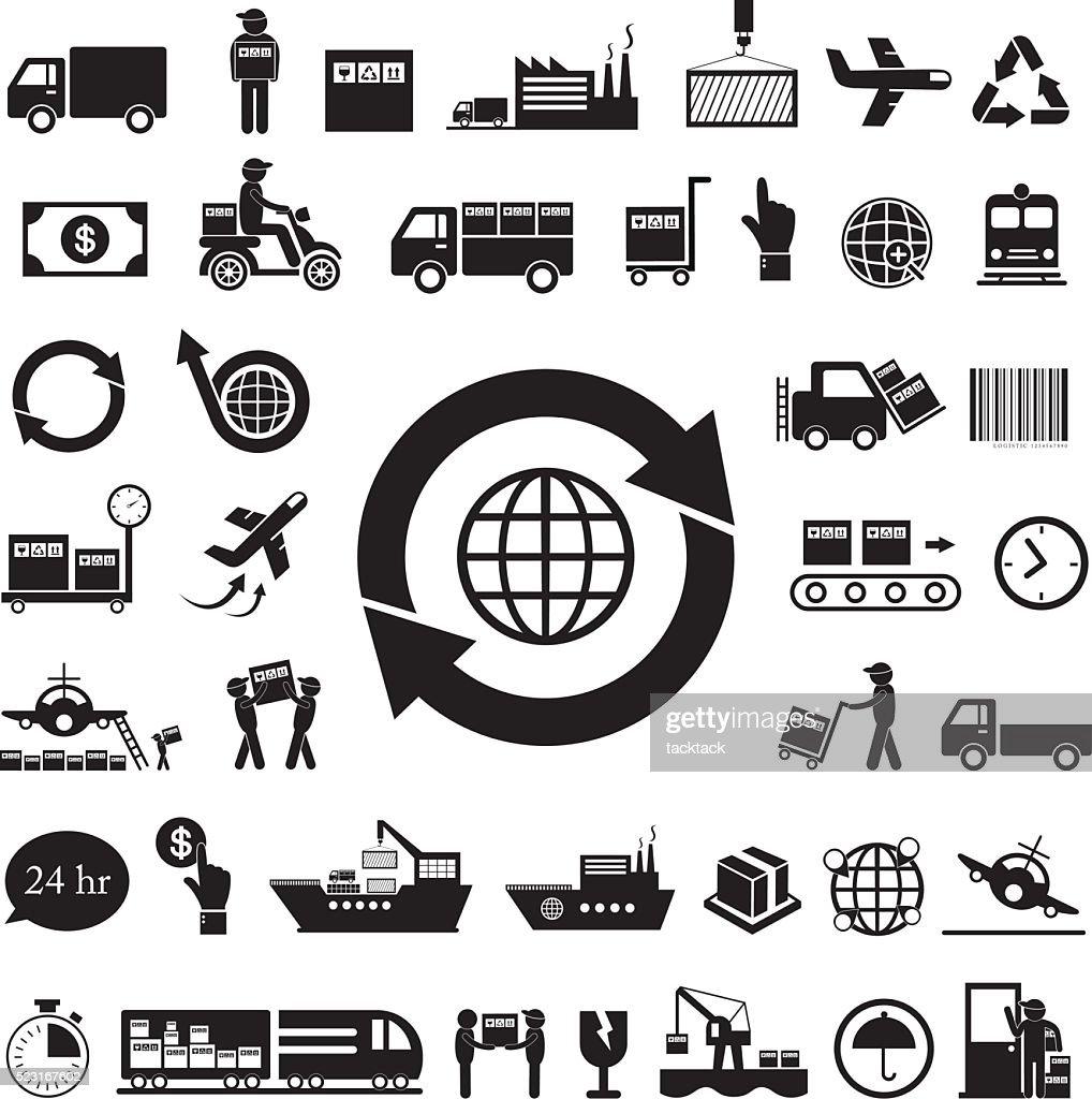vector logistics icon set