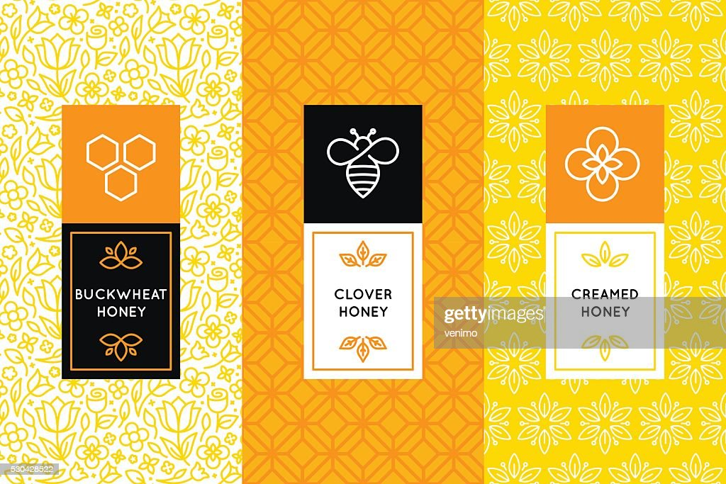 Vector logo and packaging design templates in trendy