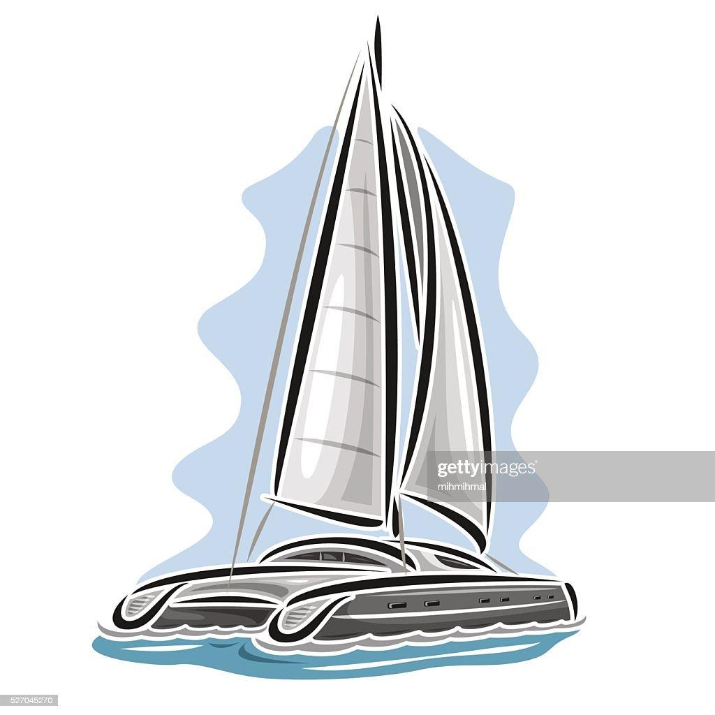 Vector logo cartoon sailing catamaran