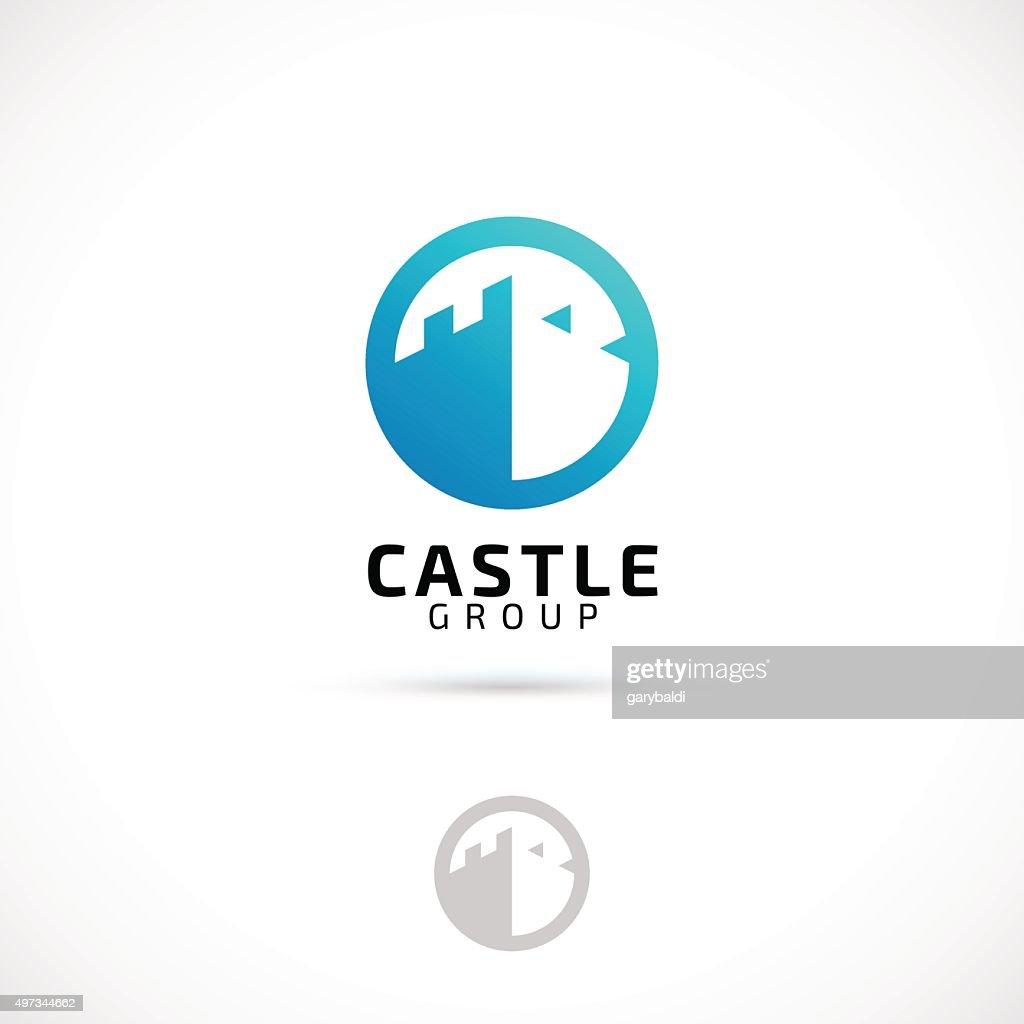 Vector logo design, castle in circle symbol icon.