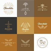 Vector logo design concepts and templates in trendy linear style