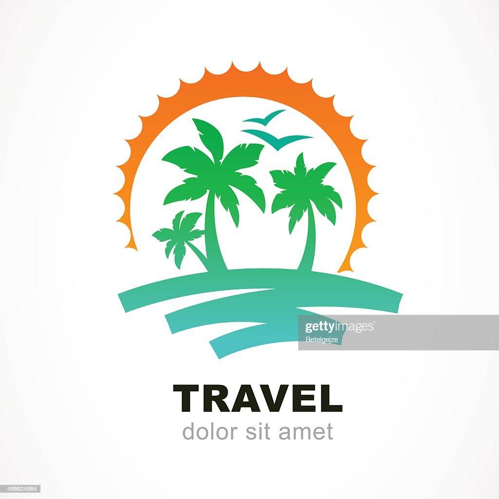 Vector logo design template. Abstract sun, palm tree on seaside.