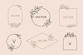 Vector logo design template and monogram concept in trendy linear style - floral frame with copy space for text or letter
