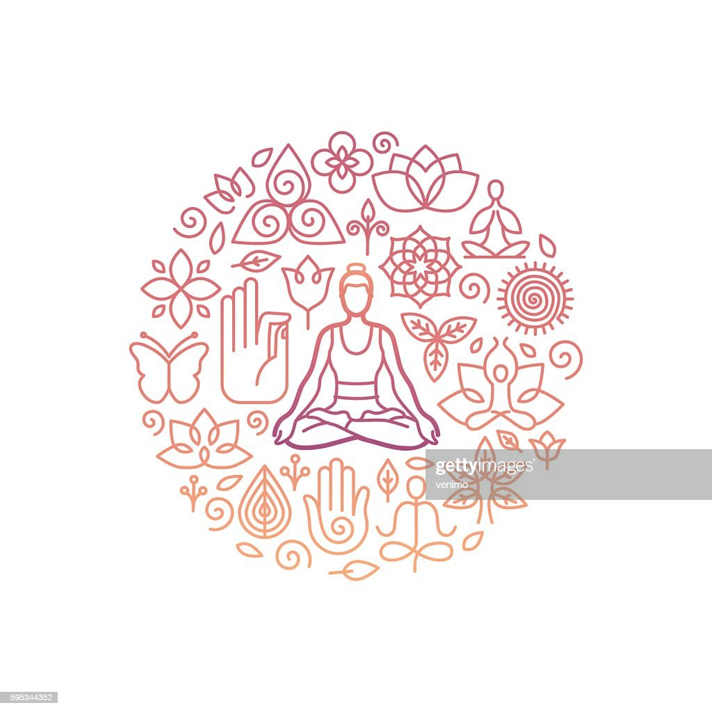 Vector logo design template - emblem for yoga class