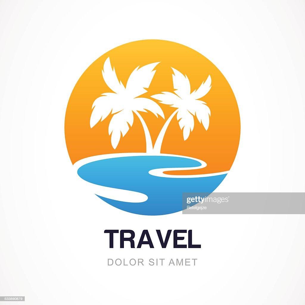 Vector logo design template. Green palm on seaside.
