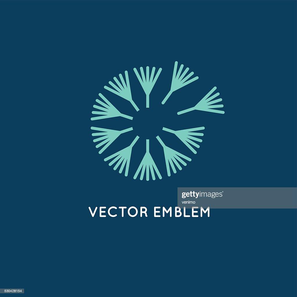 Vector logo design template in linear style - dandelion concept