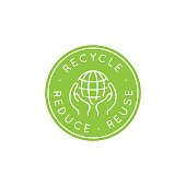 Vector logo design template - recycle and reuse, reduce concept