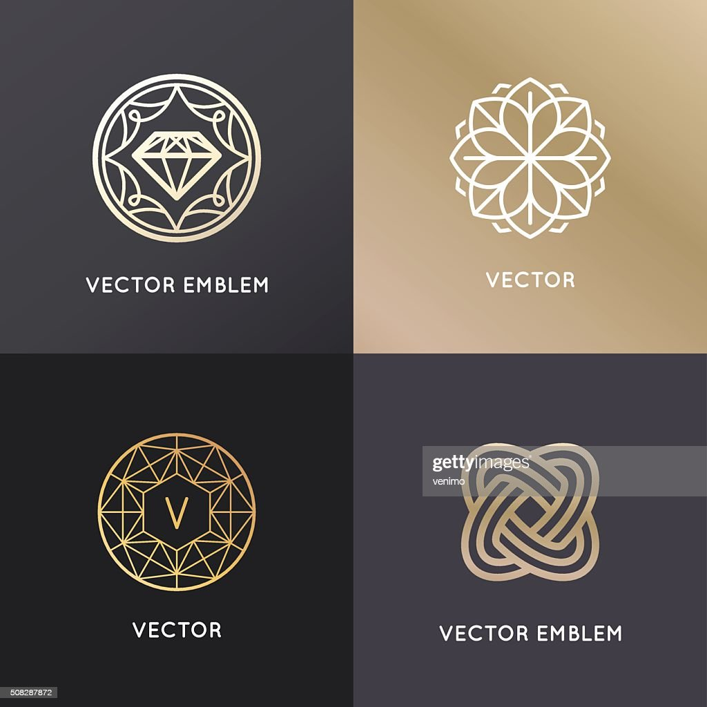 Vector logo design templates and badges in trendy linear style