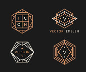 Vector logo design templates and monogram design elements in simple minimal style with copy space for text